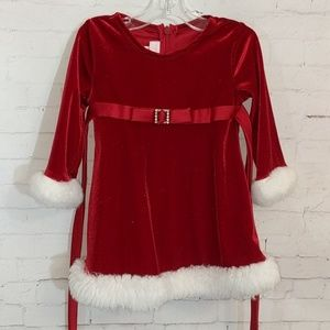 BONNIE JEAN Velour Shimmer Fur Trim Holiday Dress
